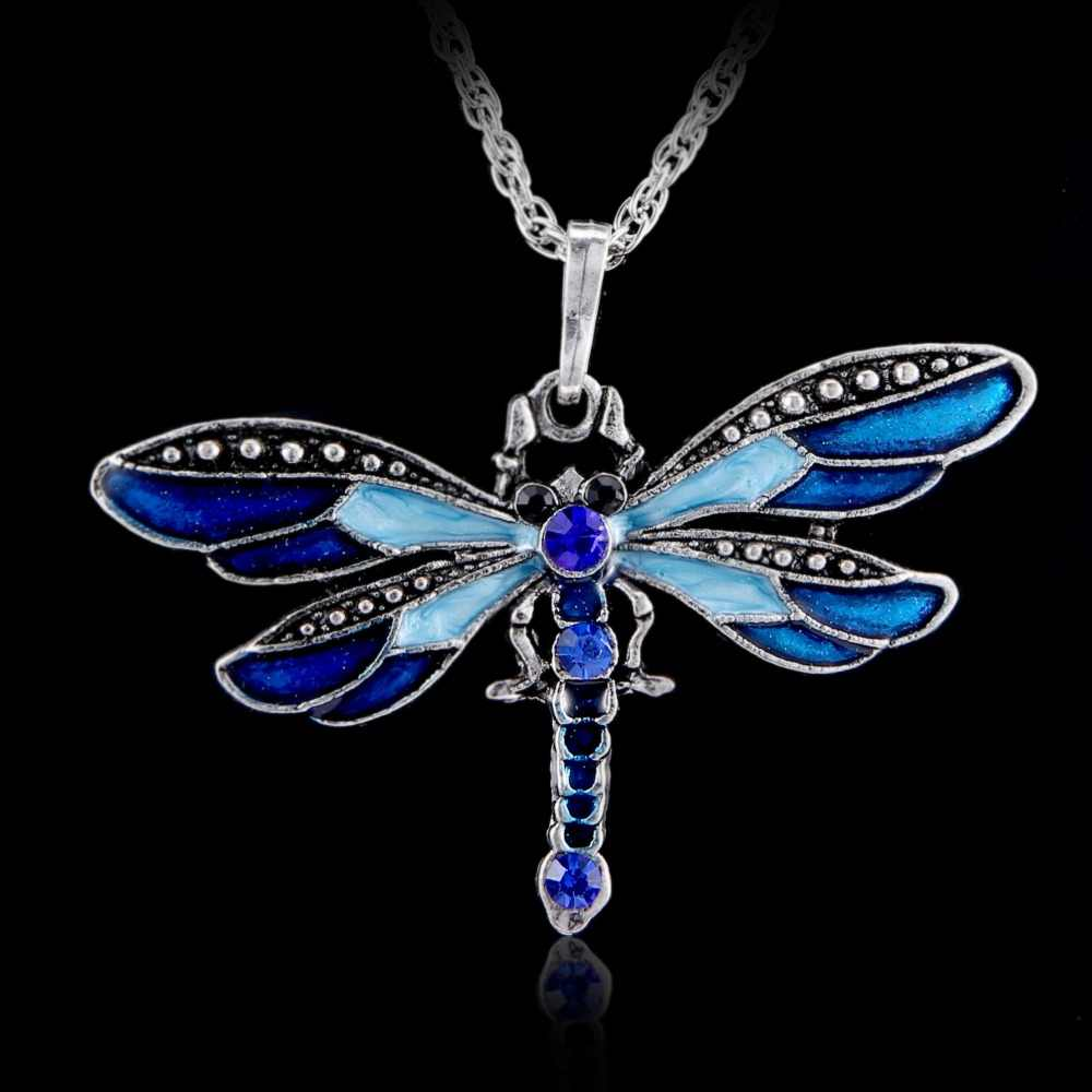 Vintage Crystal Dragonfly Necklace  animal pendant Bijoux Retro Rhinestone Animal Necklace Women Costume Jewellery Long Chain