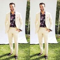 Latest Coat Pants Design Ivory Linen Men Suits for Wedding Costume Homme Mariage 2Piece Slim Fit Terno Masculino Traje Hombre