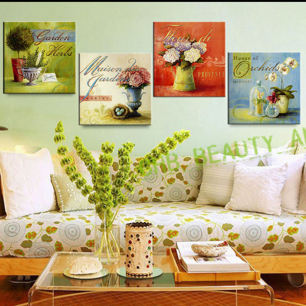4 Piece Wall Art Vintage Flowers Oil Painting Prints On Canvas Home ...