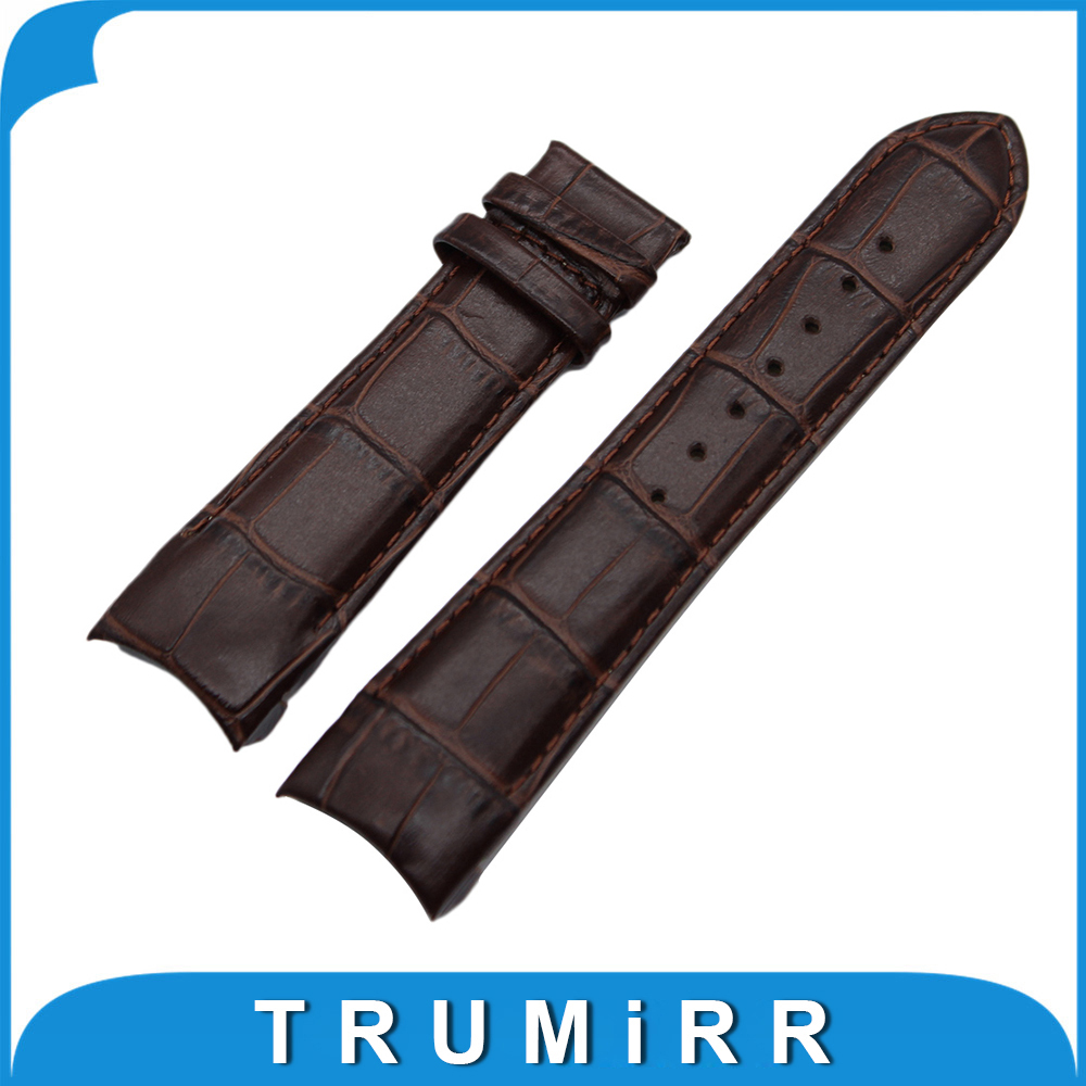 Curved End Genuine Leather Watch Band 22mm 23mm 24mm for Tissot T035 Watch Band Strap Wrist Bracelet Black Brown NO BUCKLE