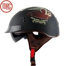 Гривна T55 Винтаж Джет Moto rcycle Harley helmetretro скутер половина шлем со встроенными козырек объектив Moto Casco в горошек для Chopper велосипеды