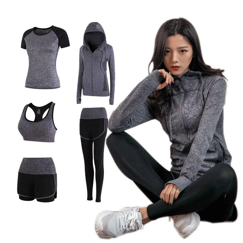 2018 Women Yoga sets quick dry sportwear gym leggings female t shirt costume fitness tights suit top yoga set 5 pieces yoga set все цены