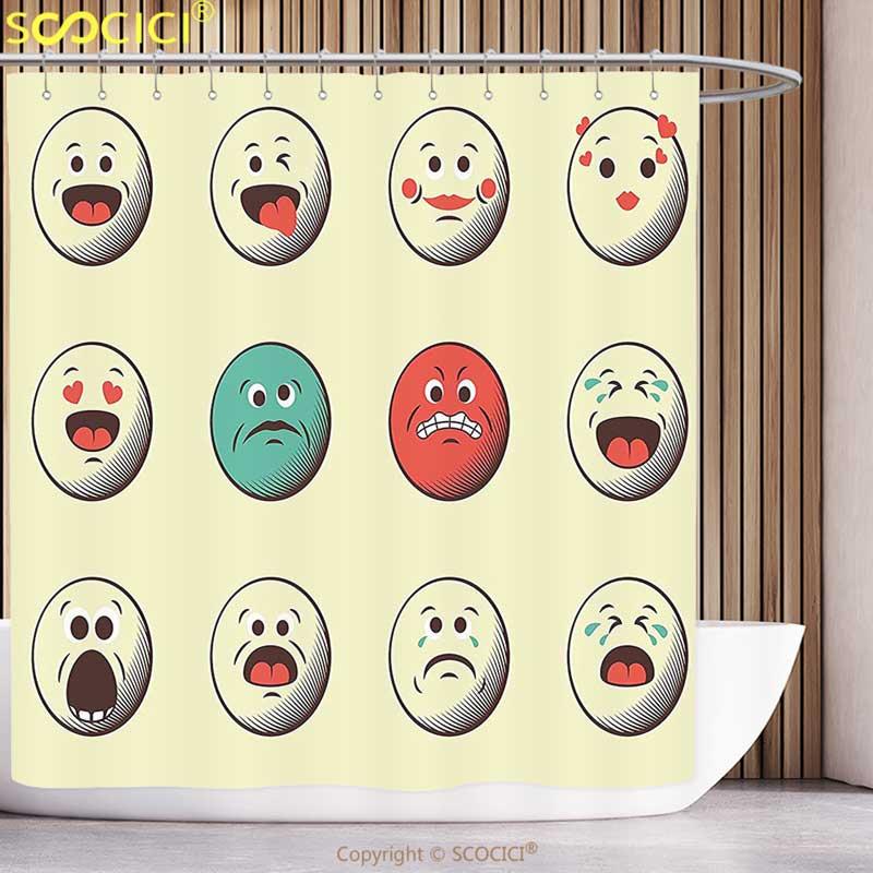 √Divertida cortina de la ducha emoji dibujos animados como vintage ...