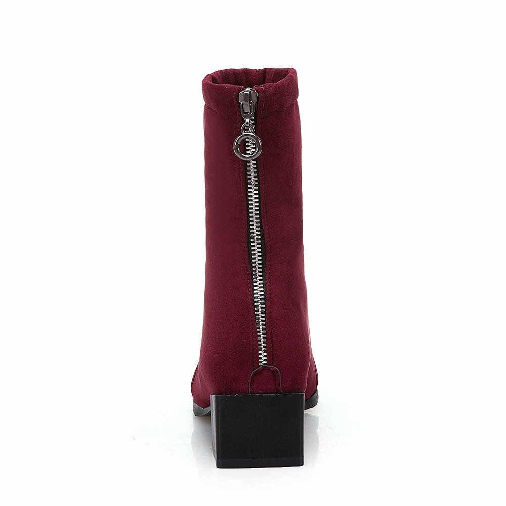 Kadın Moda Kare Ayak Çizmeler Kalın Topuk yarım çizmeler Fermuar Akın Deri Kış Bayan Ayakkabıları Siyah Pembe Şarap Kırmızı 2018 Yeni