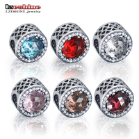 LZESHINE Authentic 925 Sterling Silver Radiant Hearts Red Color Clear CZ Charm Beads Fit European Bracelet