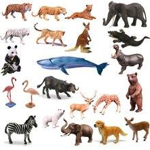Oenux Simulation Animals Action Figures High Quality Elephant Tiger Bird Lion Panda Zebra Shark Whale Animals Model Toy For Kids