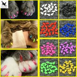 10X 20 piezas suave Pet cubre uñas tapones para uñas de gato Pet garra patas cubrir tapas con pegamento y aplicador gratis protección accesorios para mascotas