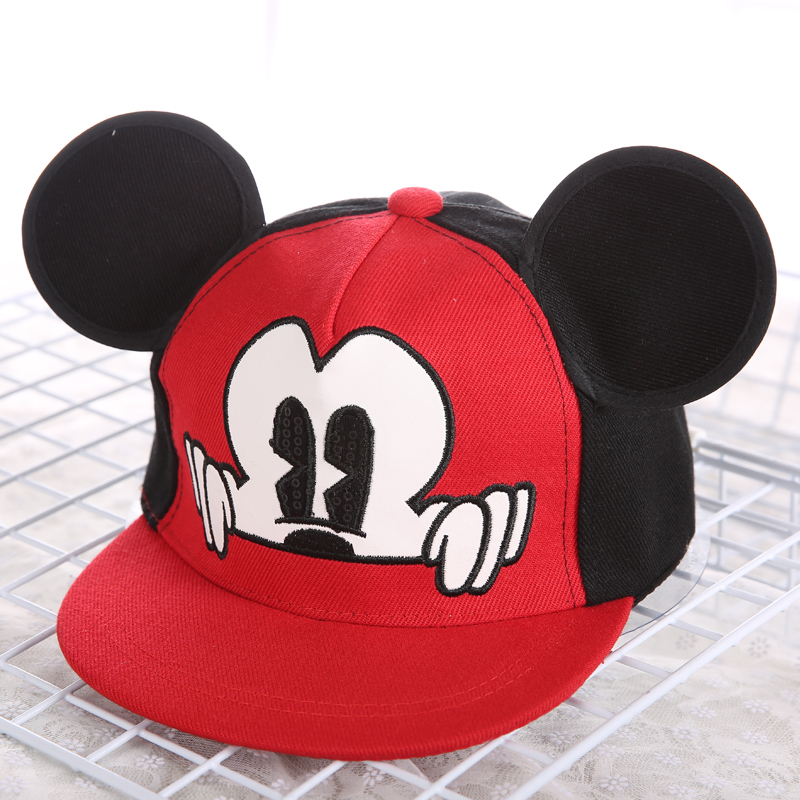 Children Boys Girls Cartoon Miki Mouse Ear Cap Kids Leasure Baby Supplies Cute Cotton Baseball Cap Hat For 2 3 4 5 6 7 8 Years(China)