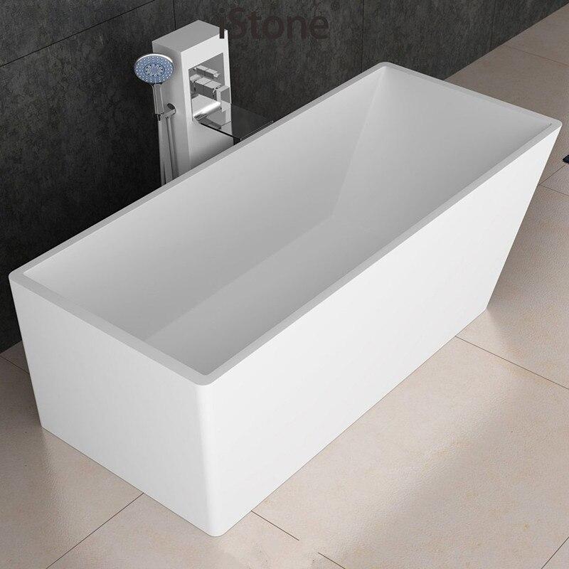 Solid Surface Stone CUPC Approval Bathtub Rectangular Freestanding Corian Matt Or Glossy Finishing Tub RS6505