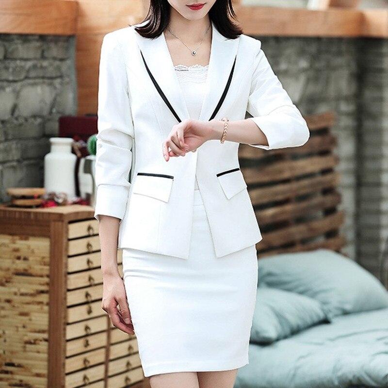 Mode Suit Costume veste Femmes De Jupe piece Amincissant Jupe Tailleur Vêtement Deux Mince White PP0pqwxv