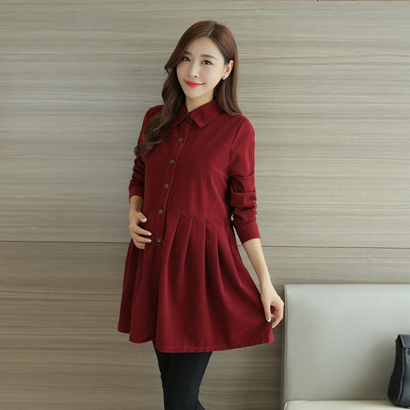 Spring Autumn Long Sleeve Corduroy Maternity Blouses Shirts
