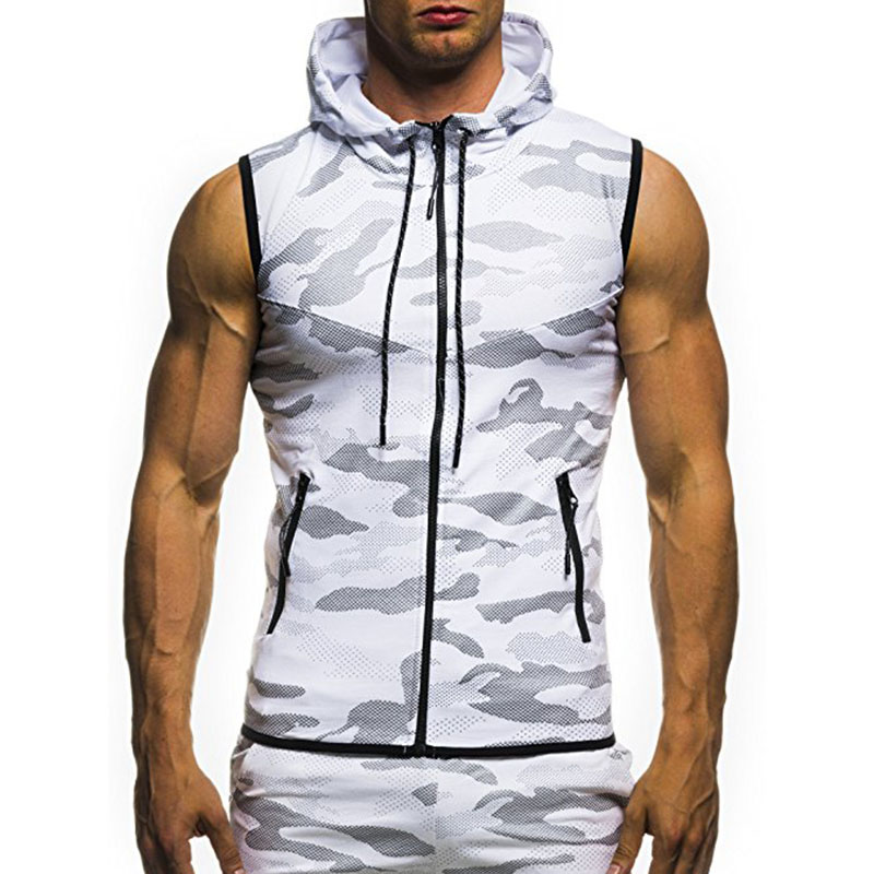 Spring And Summer Men'S Jackets 2018 New Casual Fashion High Quality Men'S Wind Zipper Hooded Camouflage Printing Fitness Vest