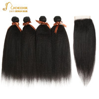 Joedir Indian Yaki Straight Hair With Closure 100% Human Hair Weave 3 4 Bundles With Closure With Baby Hair Free Shipping