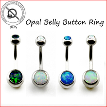 BOG-1 Piece 316L Surgical Steel Opal Stone Belly Button Ring Navel Bar Piercing Nombril Ombligo Body Jewelry 14g(China)