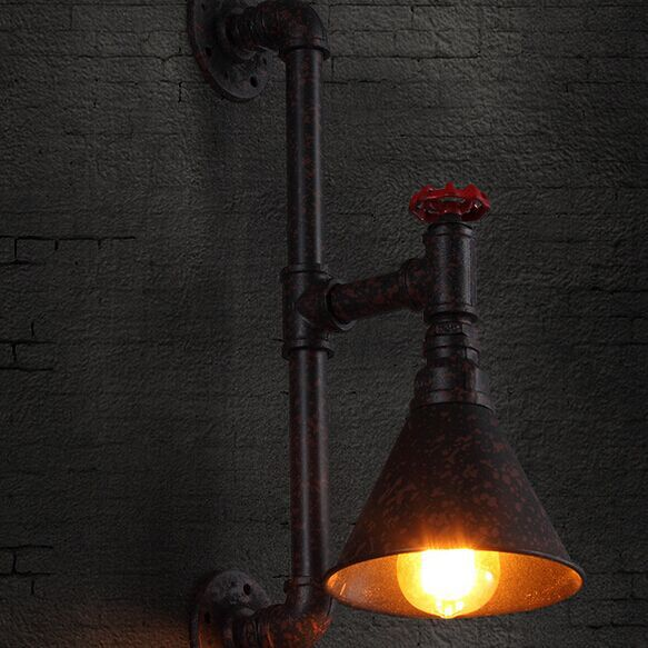 American Countryside Loft Style Iron Creative Water Pipe Restaurant Wall Lamp Study Light Bar Decoration Light Free Shipping