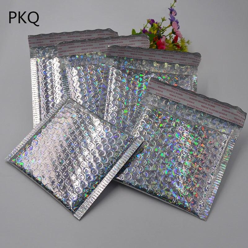 In QualitäT 23*30 Cm/15*13 Cm Laser Silber Mailing Umschlag Taschen Kurier Taschen Wasserdichte Verpackung Blase Mailer Gepolsterte Blase Umschläge Tasche Ausgezeichnete