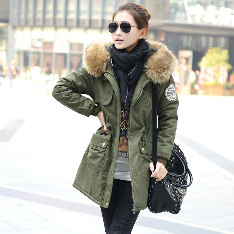 2017 new winter jacket green cotton frock size fur collar long coat women plus velvet jackets thick jacket. europe vinatge ivory white big gate door handle white gold glass wooden door pull handle top quality hotel ktv office door 550mm