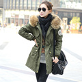 2017 new winter jacket green cotton frock size fur collar long coat women plus velvet jackets thick jacket.