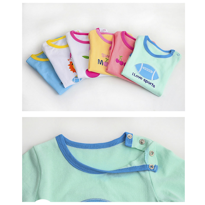 SLAIXIU 3pcs Baby Bodysuit Autumn Cotton Long Sleeve Baby Clothing Lucky Newborn Child Infant Boy Girl Pajamas Children Clothes
