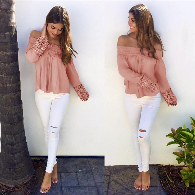 d294d457efa0 Heyouthoney New Women Sweet Pink Off Shoulder Sexy Shirt Long Sleeve ...