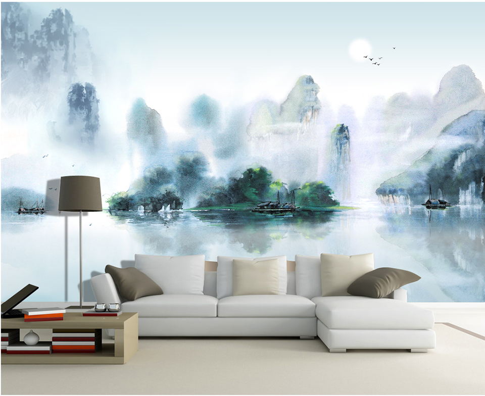 Custom Wallpaper large wall murals Chinese ink painting style landscape painting TV Walls bedroom living room Study home decor 2503art large murals3d can be custom made furniture decorative wallpaper house ornamentation decor wall stickers chinese style