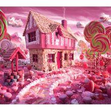 7x5FT розовый конфеты Land мороженое дом коттедж бары сад студийный фон Виниловый фон 220 см x 150