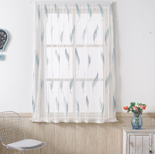 Customized processing of American pastoral leaf embroidery white curtain Tulle living room balcony partition window screen