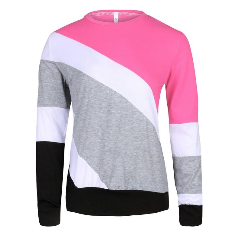 Autumn Women O Neck Long Sleeve Pullover Sweatshirts Patchwork Harajuku Contrast Causal Sweatshirt 6