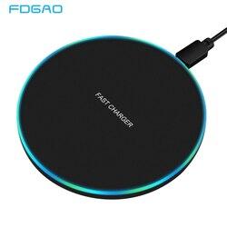 Беспроводное зарядное устройство FDGAO 10 Вт, быстрая зарядка USB для Samsung Galaxy S10 S20 S9 Note 10 9, iPhone 11 Pro XS Max XR X 8 Plus