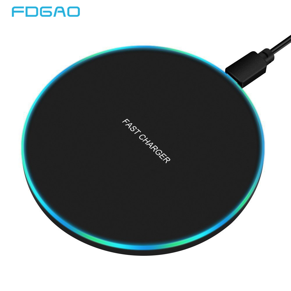 FDGAO 10W Fast Wireless Charger For Samsung Galaxy S9/S9+ S8 S7 Note 9 S7 Edge USB Qi Charging Pad for iPhone XS Max XR X 8 Plus flat panel display