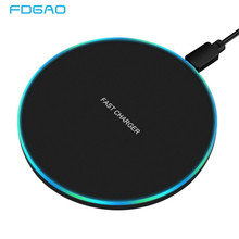 FDGAO 10W Fast Wireless Charger For Samsung Galaxy S9/S9+ S8 S7 Note 9 S7 Edge USB Qi Charging Pad for iPhone XS Max XR X 8 Plus(China)