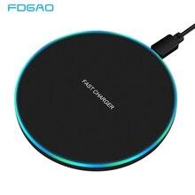 FDGAO 10W 빠른 무선 충전기 삼성 S10 S20 S9 참고 10 9 USB Qi 충전 패드 아이폰 SE 11 XS XR X 8 플러스 Airpods 프로