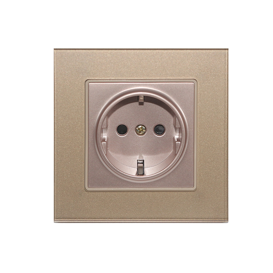 Free Shipping EU standard Wall socket 3 colors switch socket Crystal Glass panel Socket 250v 16A schuko in Electrical Sockets from Home Improvement