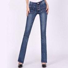 Новая коллекция весна осень slim fit середины талии расклешенных flare джинсы плюс размер стретч тощий жан брюки джинсовые брюки f3833