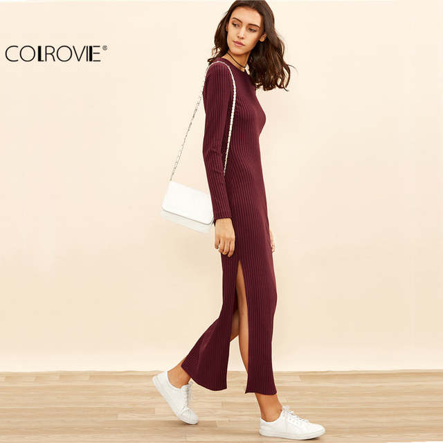 248aa04ce8 placeholder COLROVIE Winter Dresses for Women European Style Women Fall  Dresses Burgundy Knitted Long Sleeve High Slit