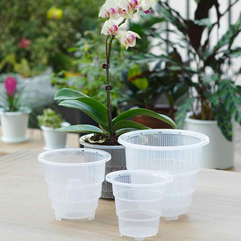 1PC Mesh Pot Plastic Clear Orchid Flower Container Planter Home Gardening Decoration