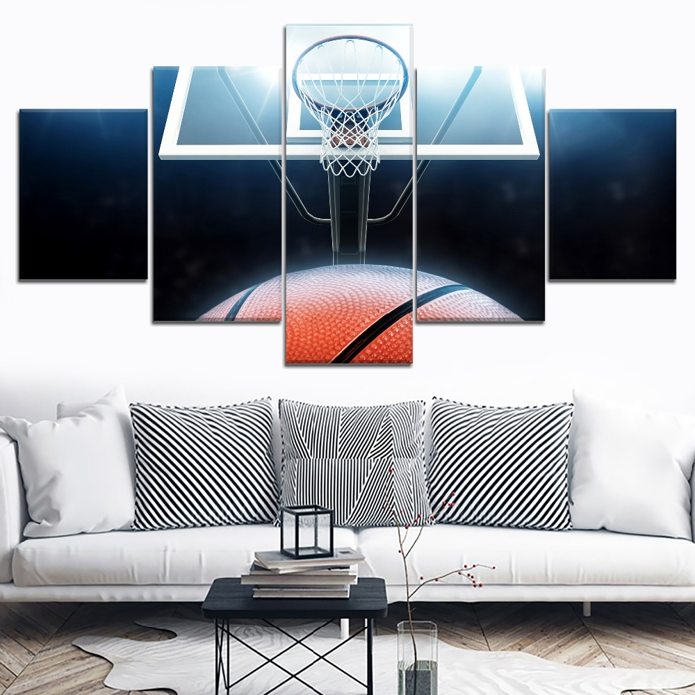 Basketball Ring Abstract Sport Painting 5 Piece Modular Style Picture Canvas Print Type Decor Wall Artwork Poster