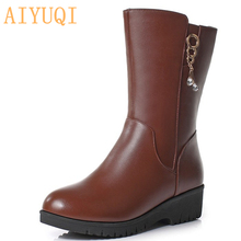 AIYUQI 2019 genuine leather female winter boots big size 41 42  Australia thick wool Martin snow