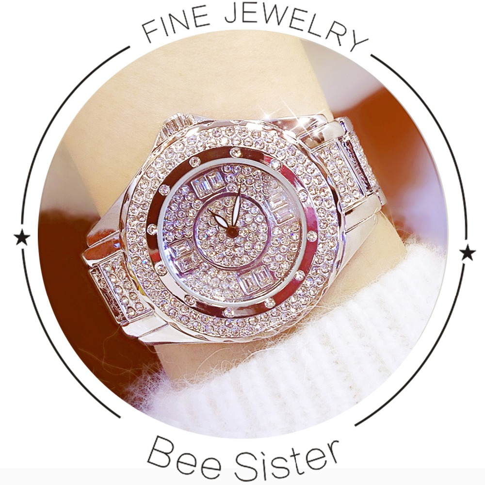 Hot Sale Berømte Brand Bling Watch Kvinner Luksus Østerrikske Crystal Watch Rose Gold Shinning Diomand Rhinestone Bangle Armbånd