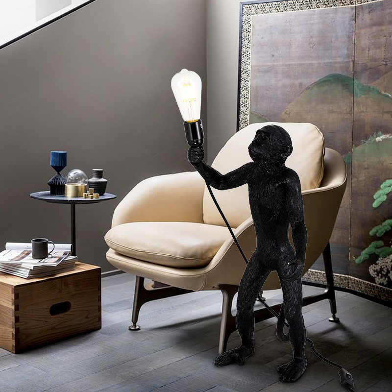 Скандинавская креативная лампа в форме обезьяны для гостиной, столовая для комнаты, Подвесная лампа смоляная лампа