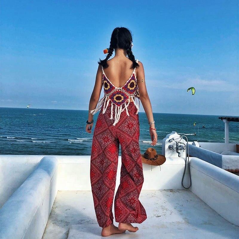 Loose   Wide     Leg     Pant   Women High Waist Female   Pant   Pockets Summer Belt Bow Tied Print Bohemian Trousers