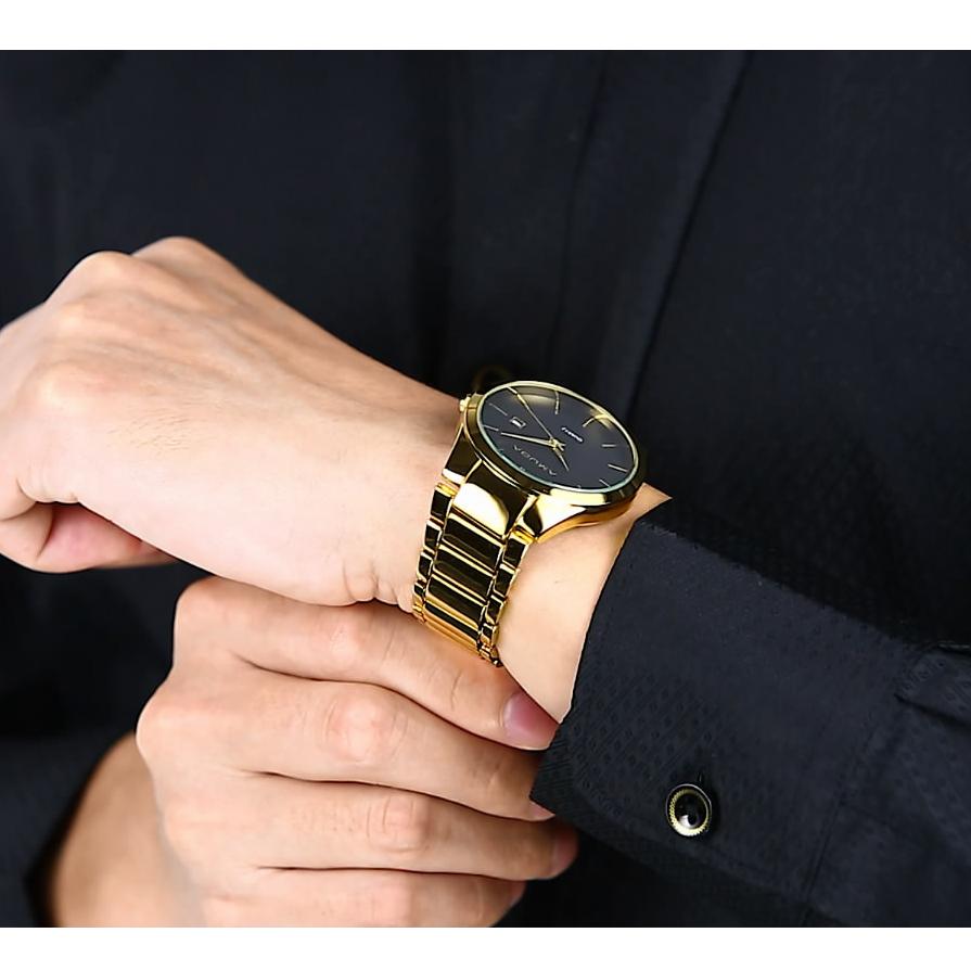 Prix pour Amuda D'or Relogio Masculino hommes de montre de luxe célèbre marque Montre-Bracelet En Acier Plein D'affaires Affichage de la Date Hommes Or Quartz Montre