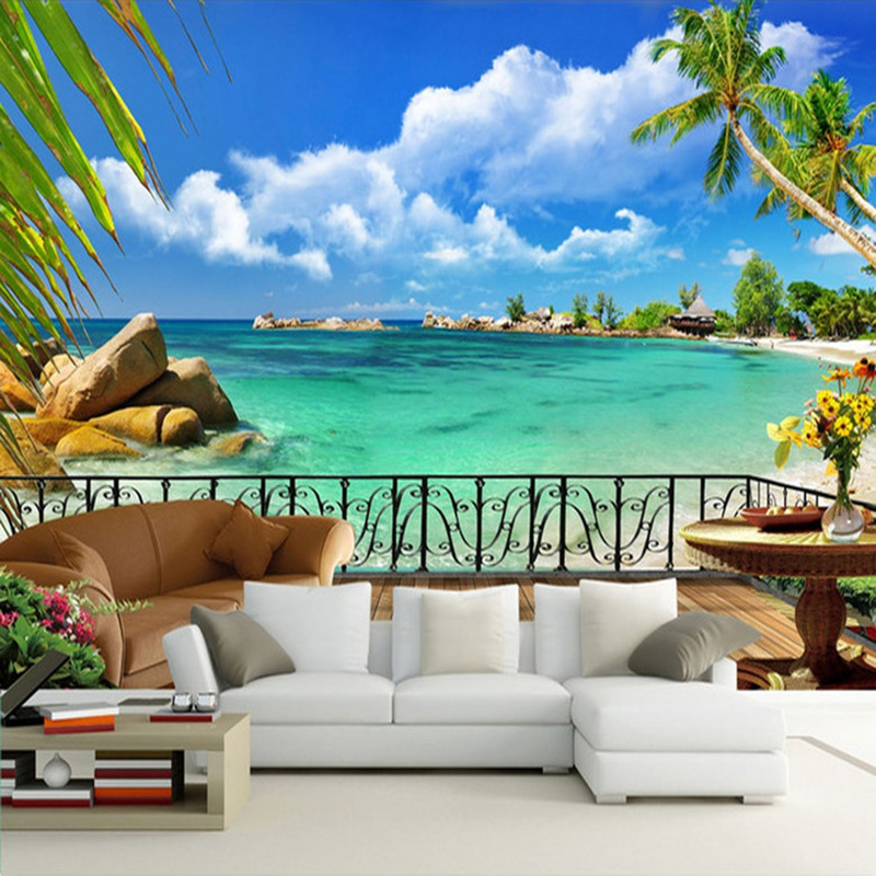 Summer Beach Terrace Landscape 3D Wall Mural Photography Wall Painting  Custom Wallpaper Living Room TV Background Contact Paper