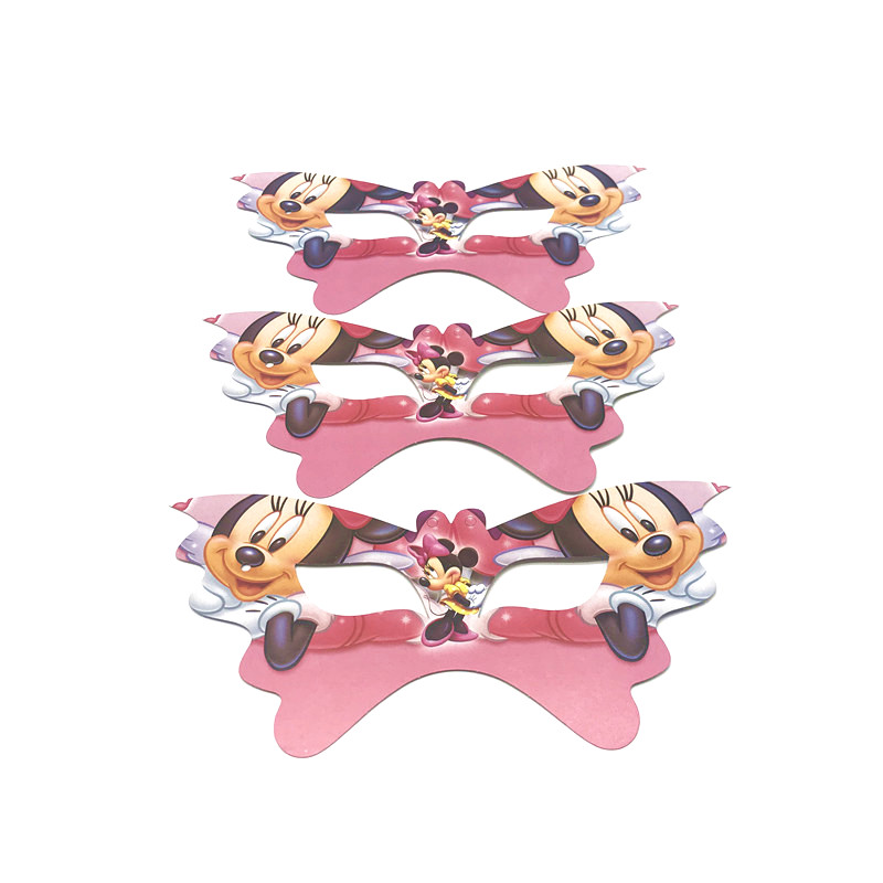 Disney Minnie Mouse Theme 6pcs Family Party Paper Upper Half Face Mask Baby Shower Mask Kid Brithday Eye Cover Party Supply