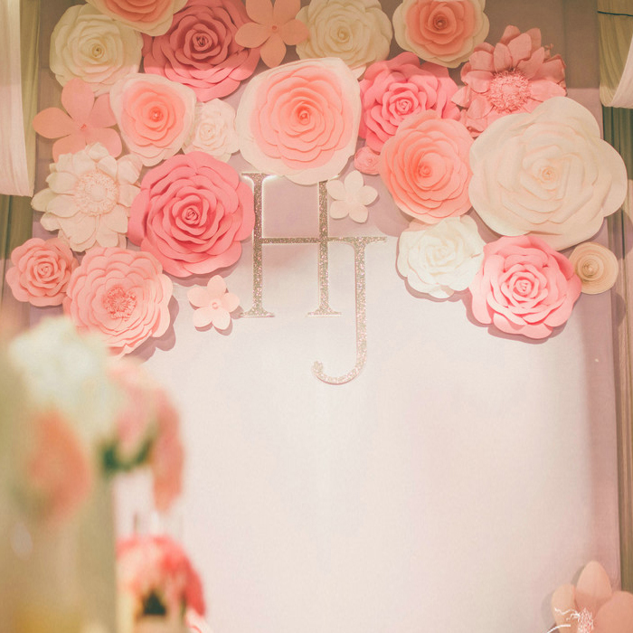 128PCS SET Gaint Wedding Paper Flowers Wall Handmade DIY Mix flowers ...