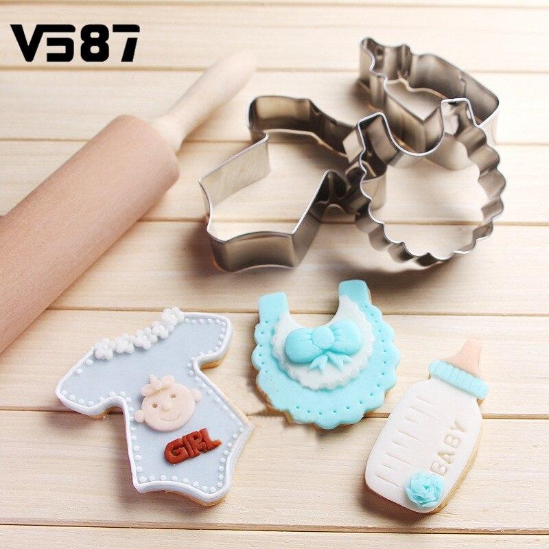 DIY Cookies Cutter 3Pcs/Set Chocolate Fruits Mould Baking Decorating Tools Baby Clothes Bib Milk Bottle Cake Fondant Mold