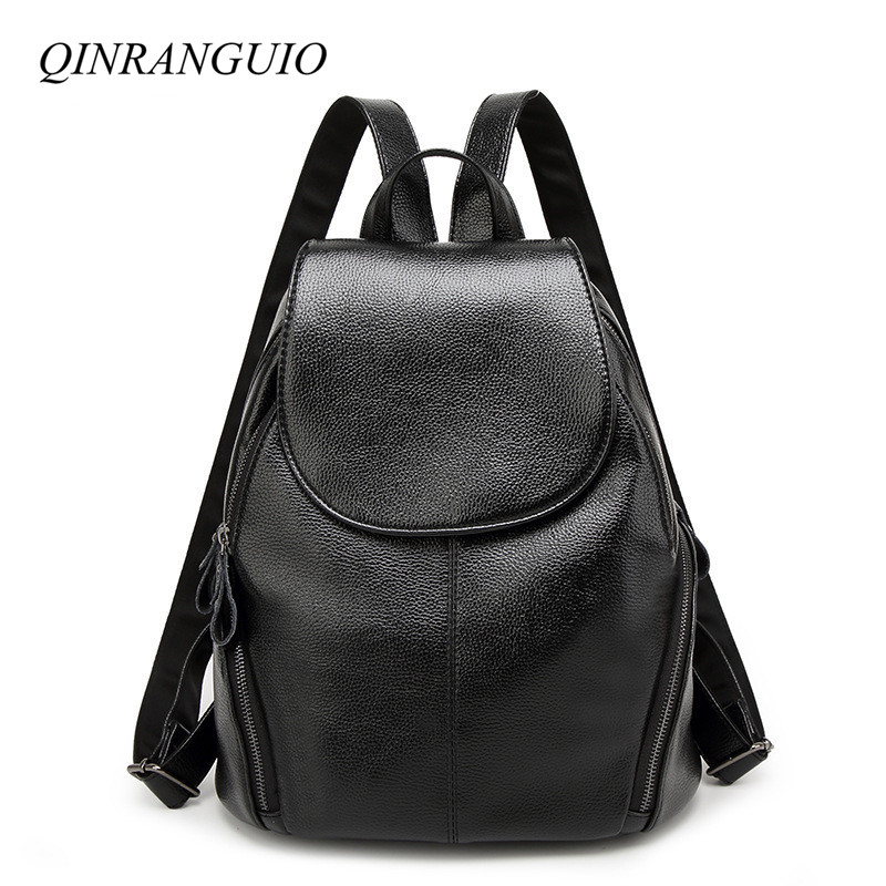 QINRANGUIO PU Leather Backpack Women Fashion Travel Backpack 2018 Women Backpack Soft Leather School Bags for Teenage Girls 4pcs set women fashion backpack pu leather teenage school bag casual clutch crossbody travel bags for girls with purse and bear