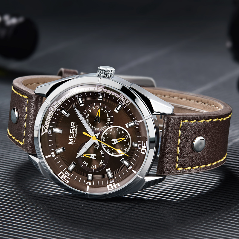 2018 MEGIR Top Luxury Brand Men Watches Man Fashion Quartz Watch Mens Simple Business Wristwatches Male Clock Relogio Masculino megir mens watches top brand luxury fashion business clock man famous watches stainless steel male quartz watch montre homme new