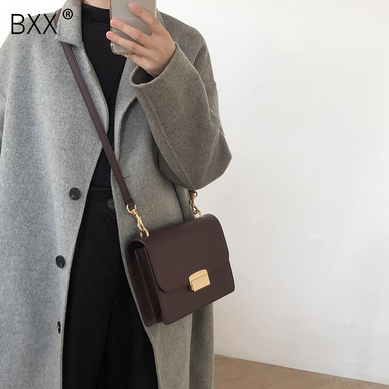 [BXX] Women's Single Shoulder Crossbody Bag All-match Flap 2020 Fashion Solid Color PU Leather Lock Package Female Bag HF555