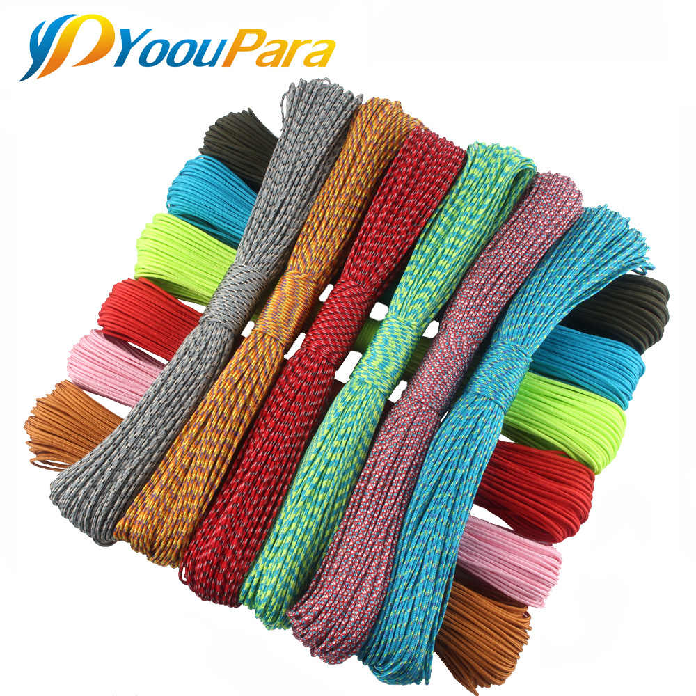 2 мм Паракорд 50 метров один стенд ядра Паракорд веревка паракордовый шнур для изготовления ювелирных изделий 100 цветов оптом
